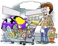 Une voiture dans un panier à provisions dans le supermarché Image stock