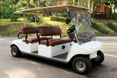 Une voiture de golf en parc de ville image stock