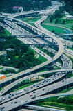 Une vue élevée des routes de Houston Image libre de droits