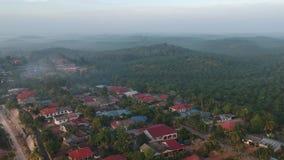 Une vue aérienne de la plantation de paume dans Felda Pemanis banque de vidéos