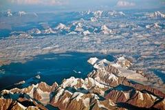 Une vue aérienne de neige ladden l'Himalaya occidental, Ladakh-Inde Image stock