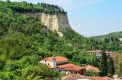 Une vue aérienne des maisons dans Melnik, Bulgarie Images libres de droits