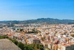 Une vue au centre de la ville de Malaga et de ses environs avec le MOIS Image libre de droits