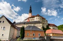 Une vue au château de Weesenstein de la ville Photos libres de droits
