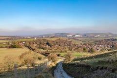 Une vue au-dessus des bas du sud de Kingston près de Lewes image stock