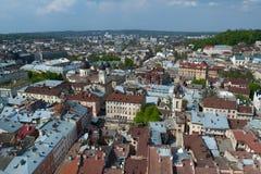 Une vue bird's-eye de Lvov Photographie stock libre de droits