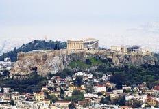 Une vue d'Athènes avec l'Acropole Photos stock