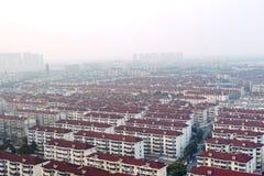 Une vue d'oeil d'oiseau au-dessus de ville d'Anting au crépuscule Photographie stock libre de droits