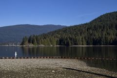 Une vue d'une plage sur une baie image libre de droits