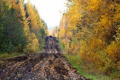 Une vue d'une route boueuse d'automne avec des chasseurs sur des quadruples à l'arrière-plan image stock