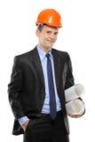 Une vue d'un jeune travailleur de la construction Photographie stock libre de droits