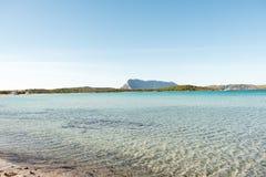 Une vue d'une plage merveilleuse Sardaigne, Italie la belle nature de l'eau bleue méditerranéenne et claire Photographie stock libre de droits