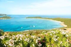 Une vue d'une plage merveilleuse Sardaigne, Italie la belle nature de l'eau bleue méditerranéenne et claire Photographie stock