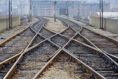 Une vue d'une voie de chemin de fer Images stock