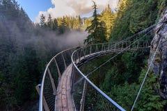 Une vue de ci-dessus du pont suspendu sur les courants rugueux de image stock