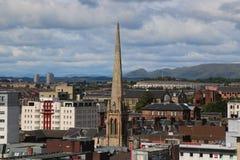 Une vue de haut niveau de Glasgow, semblant du nord-ouest de la rue de Bothwell image stock