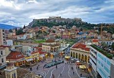Une vue de l'Acropole et de quart de Monastiraki à Athènes pour image stock