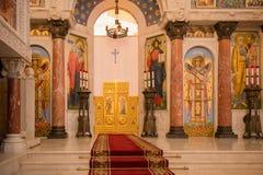 une vue de l'autel du St Nicholas Cathedral de mer Photos stock