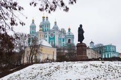 Une vue de la cathédrale de supposition à Smolensk Images libres de droits