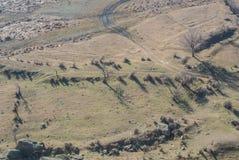 Une vue de la montagne à la ville antique Uplistsikhe d'héritage Image libre de droits