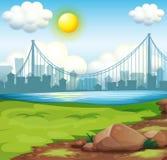Une vue de la rivière près des édifices hauts sous le soleil lumineux illustration stock