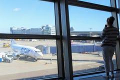 Une vue de la salle d'attente sur l'aérodrome à l'aéroport international Moscou de Vnukovo - juillet 2017 Images stock