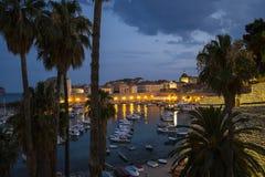 Une vue de la vieille ville de Dubrovnik (paumes et port dans le Ni Images stock