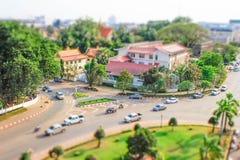 Une vue de la ville d'en haut des portes centrales dans le style de tiltshift photographie stock libre de droits