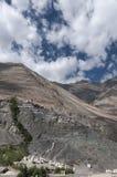 Une vue de monastère de Diskit de vallée de Bouddha Statuein Nubra image stock