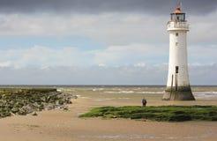 Une vue de nouveau Brighton, ou roche de perche, phare photographie stock libre de droits