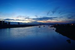 Une vue de nuit de rivière de Yongjiang Photos libres de droits