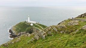 Une vue de phare du sud de pile, Pays de Galles image stock
