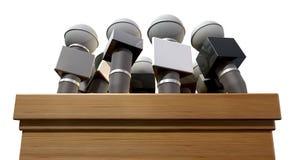 Microphones et podium de conférence de presse images libres de droits
