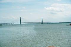 Une vue de pont de Johor de sungai image libre de droits