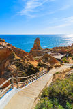 Une vue de restaurant sur la côte du Portugal Photos libres de droits