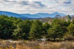 Une vue de Winter's de Ridge Mountains bleu Photographie stock