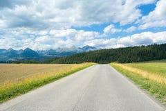 Une vue des montagnes et de la route de Tatra en été Images libres de droits