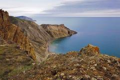 Une vue des roches de mer Photographie stock