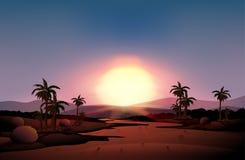 Une vue du désert pendant le coucher du soleil illustration stock