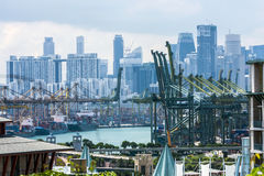 Une vue du port maritime, Singapour Photos stock