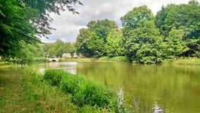 Une vue gentille d'été au-dessus d'un lac en parc tranquille Photographie stock libre de droits