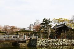 Une vue globale de château de Himeji Images libres de droits