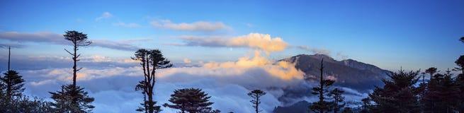 Une vue grande de la mer des nuages sur la La de Thrumshing, le passage de montagne de 3750m, Bhutan oriental photo libre de droits