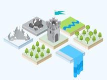 Une vue isométrique d'une tour et des environs Image libre de droits