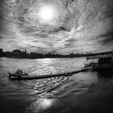 Une vue noire et blanche de Portsmouth Image libre de droits
