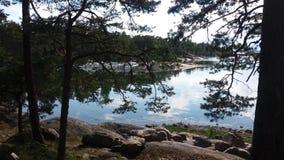 Une vue nous pensons tout à fait commun dans l'été, quand nous sommes canotage en Finlande Image stock