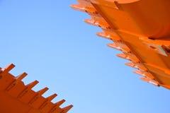 Une vue proche des griffes d'engin de terrassement Image libre de droits