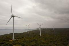 Une vue scénique de ferme de vent d'Albany par temps nuageux Image libre de droits