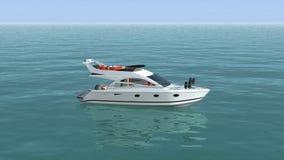 Une vue supérieure d'un bateau dans l'océan bleu banque de vidéos
