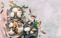 Une vue supérieure des champignons et d'une nappe photo stock